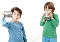 kids playing with cans