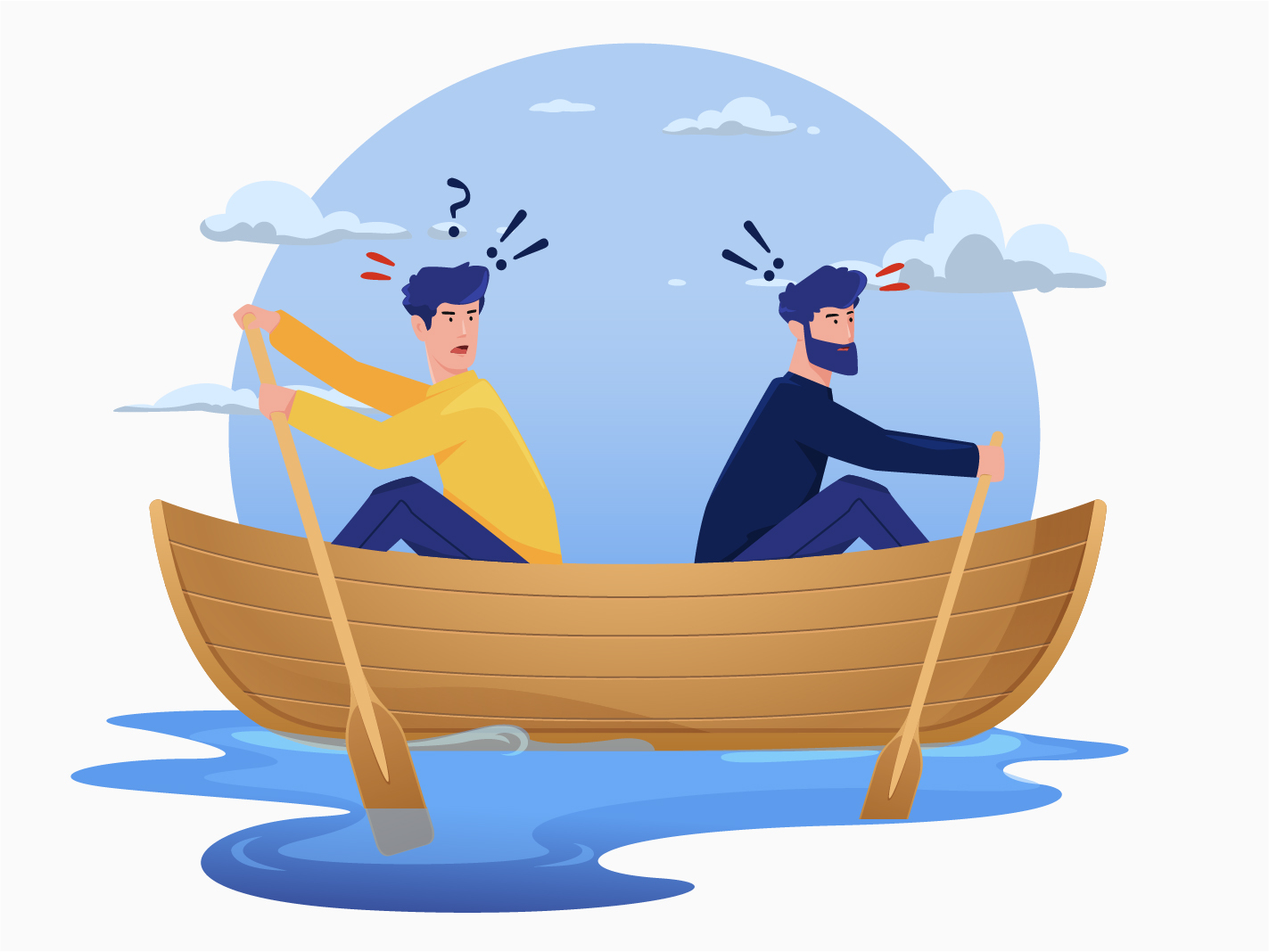 conflict interview questions two men in a canoe paddling in different directions
