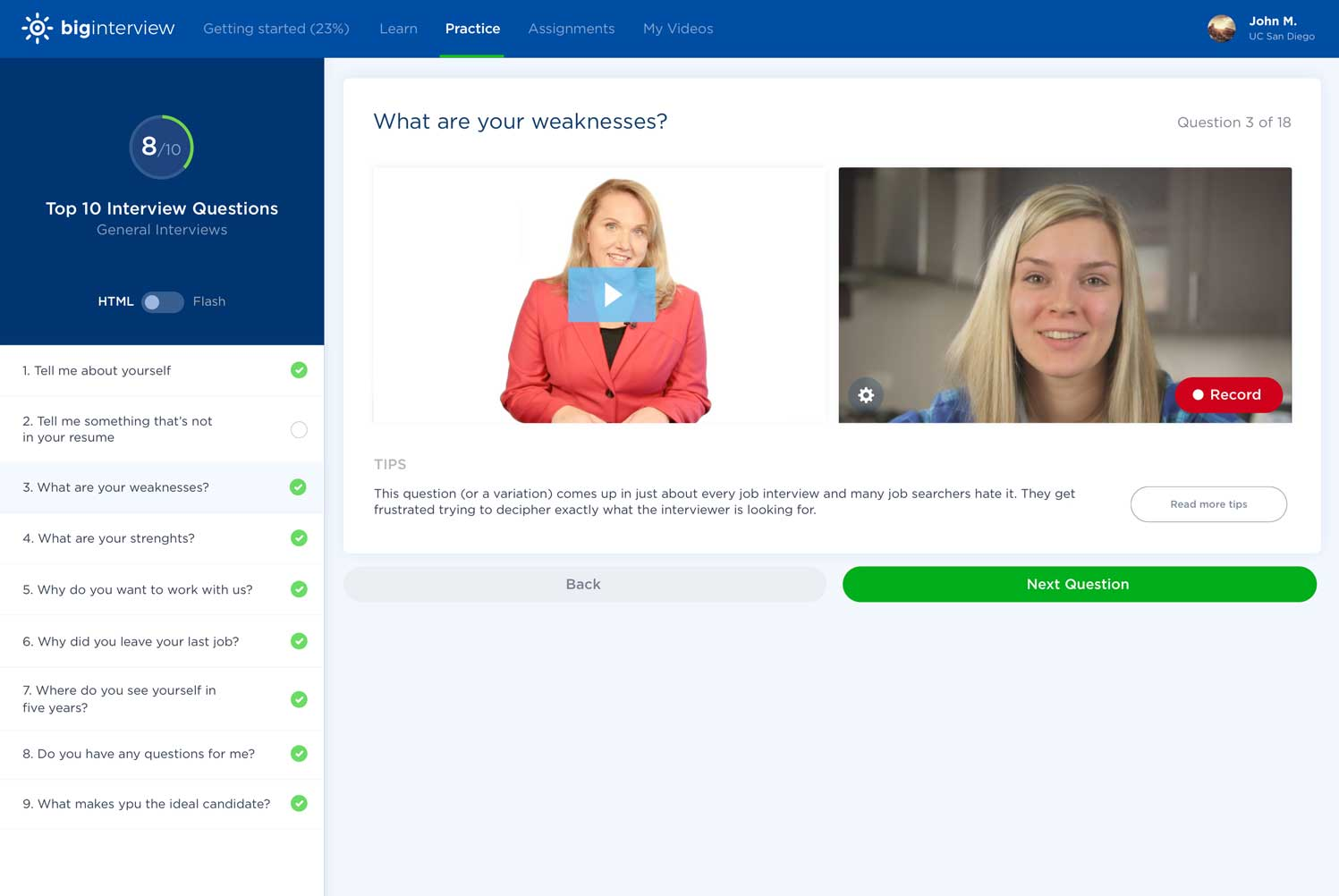 Our Big Interview tool can help you prepare you for not only why should we hire you question but many other as well