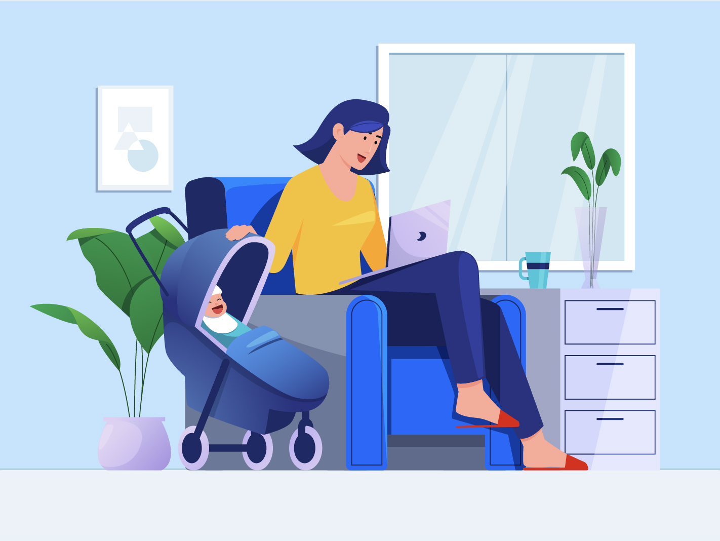 woman working with baby sitting in chair
