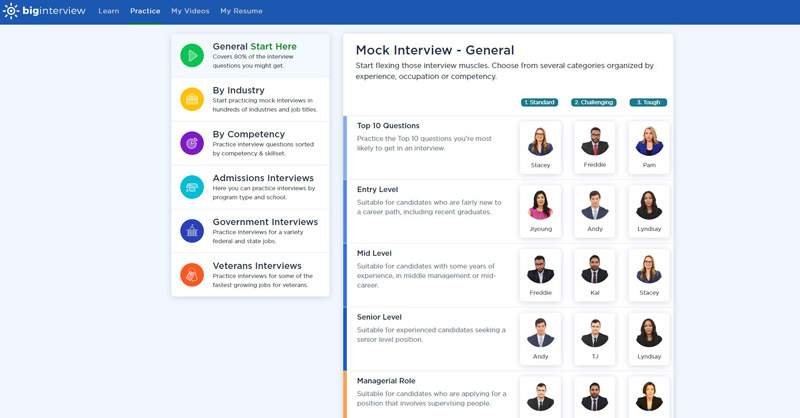 We always recommend starting with a General interview questions