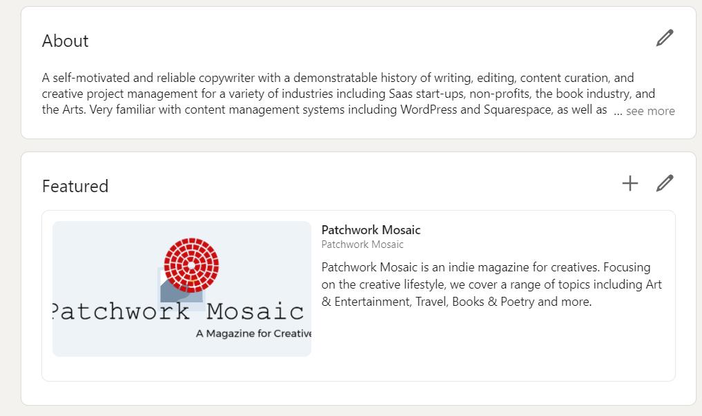 patchwork mosaic linkedin portfolio