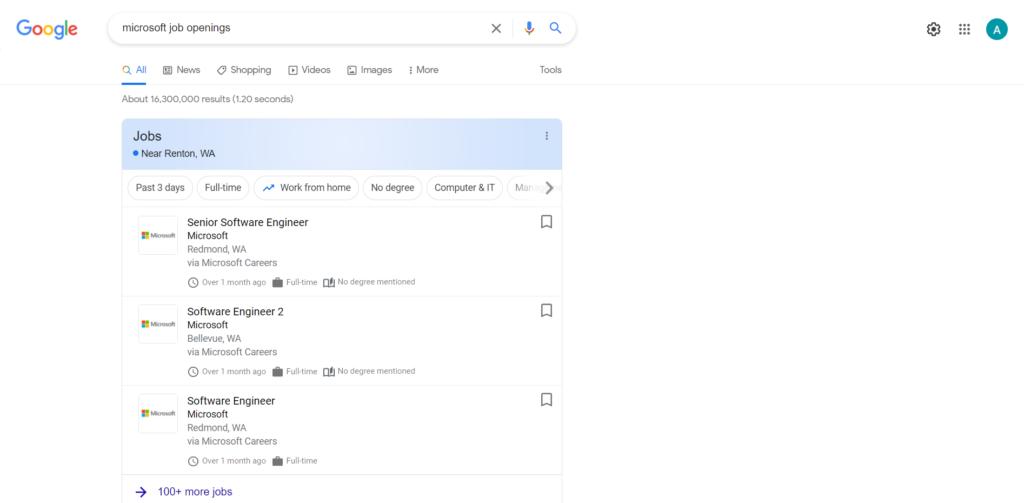 Microsoft job search