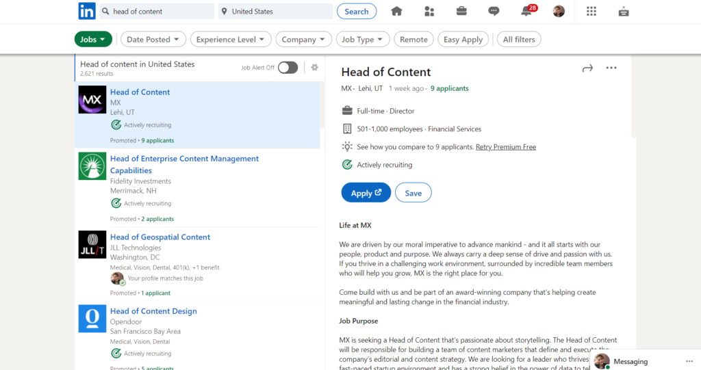 LinkedIn job search results