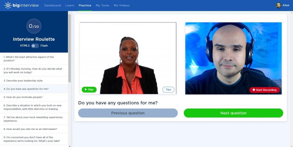 practice interview screenshot Big Interview practice tool